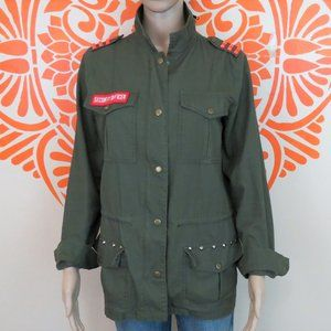 Army Green Neon Studded Military Jacket M
